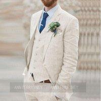 Men's Suits & Blazers Custom Made Fashion Linen Men Suit Jacket Vest Pants 3 Piece Set Slim Fit Beige Beach Party Wedding Man Groom Tuxedo B