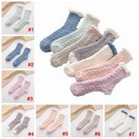 Coral Velvet Socks Candy Color Sleeping Winter Solid Floor Lady Thick Towel Anklet Warm Fluffy Hosiery Girls Stockings LJJA3570