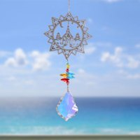 Obiekty dekoracyjne Figurki Suncatcher Angel Heart Faux Crystal Okno Car Wiszące Wisiorek Z Oliwek Koralik Węgla Wieszane Dekoracji