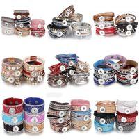10 teile / los Großhandel Schnappschmuck Armbänder Für Frauen Geflochtenes Leder 18mm Schnapparmband DIY austauschbare Snap-Knopf-Armband 210910