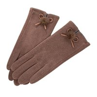 Five Fingers Gloves Female Cute Bow Embroidery Thin Plus Velvet Touch Screen Driving Mittens Winter Women Outdoor Cashmere Warm Cycling