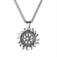 Chains Stainless Steel Hip Hop Sun Pendant Necklace With 60cm Chain Punk Rock Biker Gifts For Men