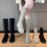 Womens Boots Boots 2021new Internet Celebrity Super Hot Versatile Vintage Suede round Head Chunky Heel Black Ankle Boots