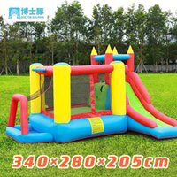 Doctor dolphin water jet inflatable castle children's amusement park indoor and outdoor slide Park trampoline jump bed with protective net