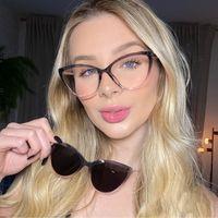Солнцезащитные очки Cat Eye Eyeglasses Рамка и магнитные солнцезащитные очки Поляризованные Женщины Магнит Женский Клип на анти-Синий Свет Компьютерные Очки