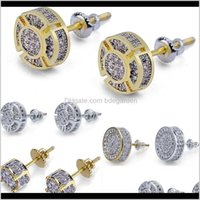 PENDIENTE DE DROP DE DROP 2021 Pendientes para hombres Hip Hop Jewelry 3 estilos Iced Out CZ Premium Diamond Cluster Zirconia Tornillo redondo Atrás L0C5U