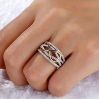 DHL 선박 유럽 및 미국 골드 도금 다이아몬드 반지 패션 여성의 2 톤 골드 도금 반지 쥬얼리 선물