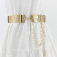 Fashion Women Adjustable Metal Waist Belt Bling Gold Silver Color Plate Vintage Lady Simple Chains Belts Mirror Waistband