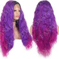 Синтетические парики Fanxiton кружева передняя парик глубокая волна фиолетовый розовый ombre Rainbow Goofeless для женщин косплей