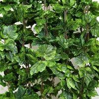 NewWartificial Plantas 12 unids planta artificial flor de seda hoja de uva colgante guirnaldas Faux vid de boda decoración para el hogar EWD6080