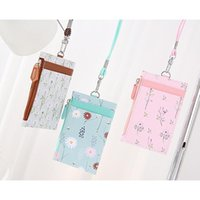 Card Holders Portable PU Leather Printing Wallet Zipper Visible Fashion Coin Purse With Lanyard Multi Color Optional