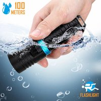 Flashlights Torches C2 Powerful L2 Diving LED Warm Yellow White Dive 200M Waterproof Underwater Camping Torch Lamp Dimming By 186