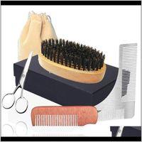 أدوات فرش منتجات الشعر إسقاط التسليم 2021 6in1 فرشاة الخنزير الخنزير، مشط الخشب مصغرة، مقص تشكيل معبد الرجال ماكياج الوجه العناية