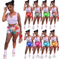 Frauen Zwei Teil Hosen Shorts Sets Designer Sexy Slim Rundhalsfarbe Kontrast Splicing Strap Aushöhlen Trainingsanzüge Ärmellose Weste Sommer Outfits