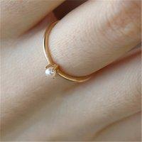 Petite perle Anneaux d'ornements Simplicité Rings Tempéramment Lumière Luminaire Vent froid Femme Bijoux Accessoires Gold Plated 1 9DW Y2