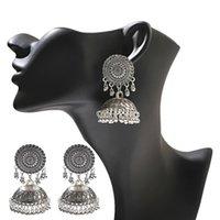 Vintage Boho Fashion Pendant Earrings Golden Color Round Alloy Geometric Pattern Beads Tassel Bell Earrings Jewelry Gift
