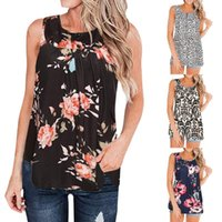 Women's Tanks & Camis Womail 2021 Summer Tops Fashion Floral Print Sleeveless Vest Blouse Shirt Female Casual Buttons Flare Tunic Tank Top