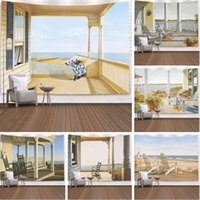 Tapestries Ocean Window View Tapestry Wall Hanging Sandy Beach Picnic Rug Camping Tent Sleeping Pad Home Decor Bedspread Sheet Cloth