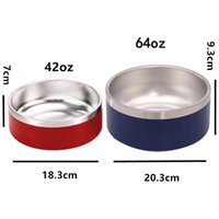 Dog Bowl 64oz 2L 42oz 1.2L 304 Stainless Steel Tough Pet Bowls Feeding Feeder Water Food Station Solution Puppy Supplies SEAWAY HHF10263