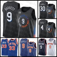 2021 New Basketball Jersey NeuYorkKnicks Mens RJ 9 Barrett Patrick 33 Ewing Mesh Retro 30 Julius Randle 4 Derrick Rose Günstige Armee Grün Rot Multi