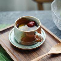 Creative Handmade Ceramic Coffee Cup And Saucer European Personality Kiln Change Cappuccino Retro Mugs