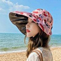 2021 Women 'S Beach Big Brim Summer Travel Sunscreen Hat Travels Vacation Fashion Wild Sun Hats With Box