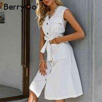 Berrgo на шнуровке без рукавов кнопка MIDI платье ретро высокое талию на колене длина на коленях к колену