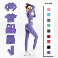 Women Seamless Yoga Set Gym SportWear Running Outwork Clothing Fitness Long SLeeve Shirt High Waist Legging Sport Tracksuit