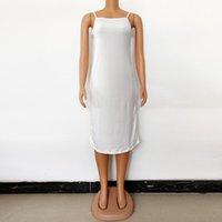 Women Elastic Camisole Spaghetti Strap Long Knee-Length Dress Summer 2021 Beach Style Casual Sexy Slim Vest Female Dresses