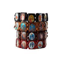 Beaded, Strands Multicolor Jesus Wood Bracelets Women Men Colorful Wooden Saints Rosary Religious For Friends Gift