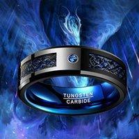 Obrączki Wedding Pierścionki Węglowe Pierścień dla mężczyzn Kobiety Czarny Celtycki Dragon Blue Carbon Włókno i Cyrkonia Inlay Wkład Męski rozmiar 6-16