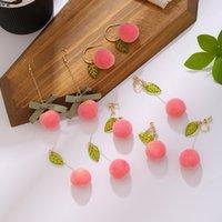 Модный летний корейский акриловый розовый персик свисает серьги для женщин девушки милые сладкие украшения подарок фрукты oorbellen 2021