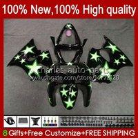 Body Kit For KAWASAKI NINJA ZX-6R ZX-636 ZX600 ZX6R 98 99 Bodywork 16No.60 ZX-600 600CC ZX636 1998 1999 ZX 636 600 CC 6 R 6R ZX600CC 98-99 Motorcycle Fairing green stars