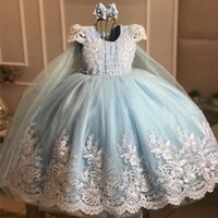 Lovely Baby Blue Ball Gown Flower Girls Dresses Short Sleeve Lace Beads Jewel Neck Floor Length Kids Formal Dress Wear Birthday Toddler Girl Pageant Gowns