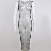 패션 그리드로 들어가고, 플래시 다이아몬드 라운드 넥 드레스 여성용