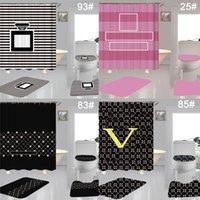세련된 해바라기 인쇄 샤워 커튼 4 조각 세트 방수 디자이너 커튼 화장실 커버 매트 욕실 액세서리