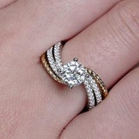 Wedding Rings JK Ring Two-tone Design CZ Channel Setting Fashion Twist Year Gift Engagement Suitable For Couples