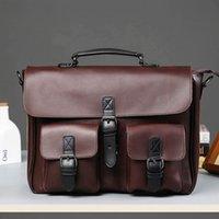 Scione Men Leather Bag Men's Laptop Briefcase Bag Vintage Male Office Messenger bag Business PU Leather Briefcase Bags For Man A0609