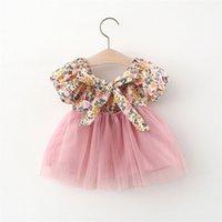 아기 소녀 꽃 가격 사귀기 귀여운 아이 bowknot 꽃 찌꺼기 거즈 투투 드레스 어린이 짧은 소매 파티 옷 S1112