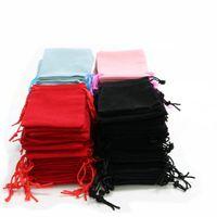 100 stücke 5x7cm Samt Kordelzug Tasche Tasche / Schmuck Tasche Weihnachten / Hochzeit Geschenk Taschen Schwarz Rot Rosa Blau 8 Farbe GC173