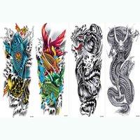 4 pièces temporaires pleine armement de jambe corbin art tatouage autocollant poisson vague diable conception eau transfert grosse manche de tatouage faux décalque