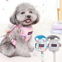 Floral Luxury Dog Harness Backpack With Leash Set Pet Cat Small Animal Collar With Little Purse School Bag Carrier Lead Products H0914