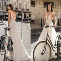 Sexy Liz Martinez A Line Wedding Dresses With Belt Deep V Neck Sleeveless Lace Appliques Custom Made Garden Country Beach Bridal Gowns