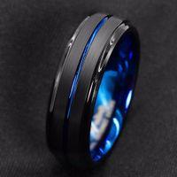Titanium Band Ring For Men Surface Black Groove Inside Blue Face Stainless Steel Rings Highlight Man Temperament Light Luxury
