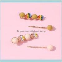 Bun Maker Aessories & Tools Hair Productskorean-Style Products Rainbow Crystal Barrettes South Korea Dongdaemun Hyuna Sweet Bang Clip Long S