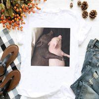 Women's T-Shirt Fashion Arrival Cute Pig Printed Female Loose T Shirt Casual Women Short Sleeve Clothes Ladies Soft Modal White Top Tee
