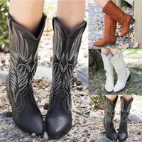 Boots Fashion Women Winter Boot Women's Ladies Outdoor Flower Square Heels Shoes Slip On Autumn Mujer Drop 2021