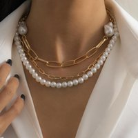 Pendant Necklaces Vintage Multilayer Pearl Geometric Choker Necklace For Women Fashion Dainty Elegant Charm Punk Chain Trend Jewelry