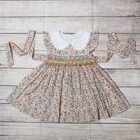Boutique Smock 100%Cotton Hand Embroidery Dress Kids Girl Sleeveless Child Wear Princess Clothes For Girls Girl's Dresses