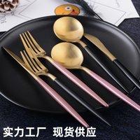 304 Stainless Steel Knife, Fork and Spoon Set Western Portuguese Steak Knife Gift Tableware Set Black Gold Spoon